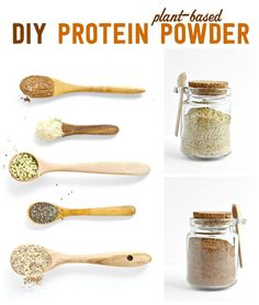 DIY Plant Based Protein Powder – make sure you completely grind the chia and hemp seeds, otherwise you will end up with a gritty texture, . Homemade Protein Powder, Vegan Protein Powder, Hemp Protein, Protein Powder Recipes, Protein Foods, Protein Smoothies, Plant Protein, Protein Recipes, Plant Based Protein Powder