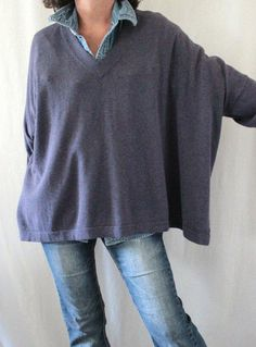Pure Jill J. Jill Pima Cotton Silk Wool Dolman Sleeve Oversize Boxy Sweater Sz L…