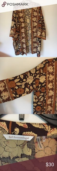 Soft Surroundings Cardigan NWOT Soft Surroundings earth tone Floral Cardigan. Like new condition, smoke free home Soft Surroundings Tops