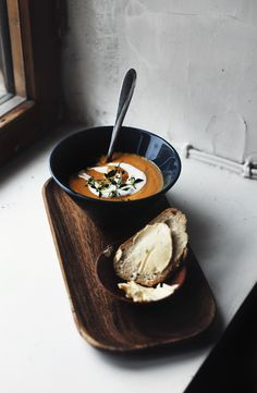 Sweet potato soup seasoned with ginger, spices and rounded up with cream.