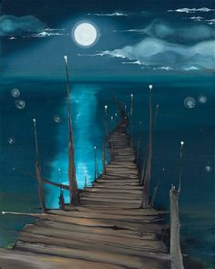 The moon and the sea fantasy art: landscapes maľby, umenie, perspektíva. Beginner Painting, Acrylic Painting For Beginners, Moon Art, Pics Art, Art Pictures, Painting Inspiration, Painting & Drawing, Painting Tips, Painting Classes