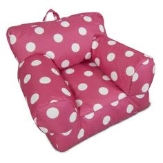 BeanSack Kid's Hot Pink/ White Polka Dots Bean Bag Arm Chair   Overstock.com Shopping - Big Discounts on Comfort Research Bean & Lounge Bags