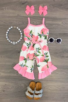 Pink Lemon Ruffle Romper - September 14 2019 at Baby Outfits, Little Girl Outfits, Kids Outfits Girls, Cute Outfits For Kids, Toddler Girl Outfits, Little Girl Fashion, Baby Girl Dresses, Toddler Fashion, Baby Dress