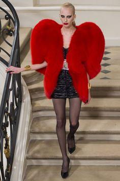 Hedi Slimane's ode to YSL oversized red shoulder pad fur coat, black mini dress, sheer tights, pointy heels