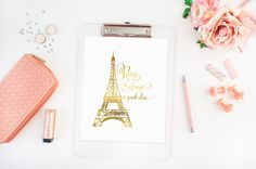 Paris is always a good idea Travel Poster Gold by TheDigitalStudio