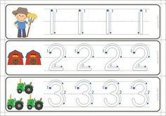 11 Math Centers - Farm {Pre-k  Kindergarten} 111 pages in total. Lots of hands on games and activities to make learning FUN! A page from the unit: Tracing numbers in a write and wipe center. Love the number formation guides!