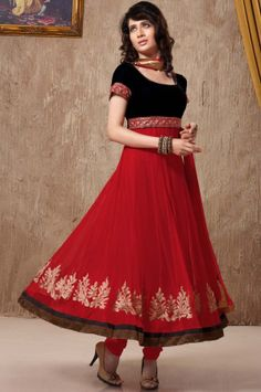 Shop for this awesome black and red combination designer Anarkali salwar suit online at best price.