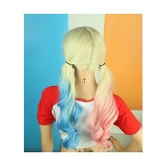 Uniwigs Comic Harley Quinn Synthetic Lace Front Wig Mixed Color Blue... ❤ liked on Polyvore featuring comic book