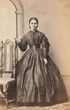 Civil War Era Antique CDV Photo, Pretty Victorian Lady in Crinoline Dress, Fashionable, Tiny Waist... for sale by Anemone Antiques on Ruby Lane.