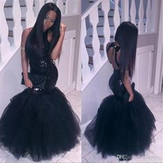 502db692177 Mermaid African Prom Dresses Plus Size Little Black Girl Long 2017 Tulle Sexy  Backless Sequined Formal Party Gowns Cheap Evening Dresses