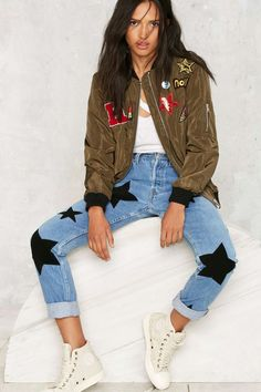 Nasty Gal What a Patch Bomber Jacket