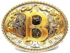 Initial Letters Western Style Cowboy Rodeo Gold Tone Oval Belt Buckles - B