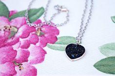 Small Heart Coal Pendant Necklace  Coal by HeartWishHandmade