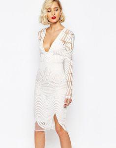 ASOS Lavish Alice Embroidered Wrap Midi Dress with Deep Plunge Asos, Lace Dress, Dress Up, Sheer Dress, Bodycon Dress, White Wrap Dress, Lavish Alice, New Years Eve Dresses, White Embroidered Dress