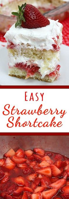 Strawberry Shortcake - This easy strawberry shortcake recipe has 2 layers of perfectly light and fluffy cake soaked with juicy strawberries, topped with whipped cream. (desserts with strawberries easy) Summer Desserts, Just Desserts, Delicious Desserts, Strawberry Shortcake Recipes, Strawberry Cakes, Shortcake Recipe Easy, Easy Strawberry Desserts, Strawberry Shortcake Birthday, Strawberry Topping