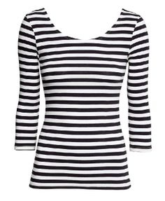 Seven Sleeves Boat Neckline Striped T-shirt
