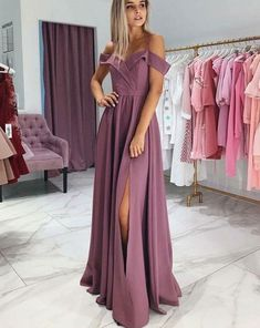 Elegant Purple Formal Evening Dresses Off Shoulder Straps Satin Prom Dress High Slit Custom Cheap Party Gowns from YooYooDress Puffy Prom Dresses, Elegant Prom Dresses, A Line Prom Dresses, Long Bridesmaid Dresses, Party Dresses, Occasion Dresses, Purple Evening Dress, Chiffon Evening Dresses, Formal Evening Dresses