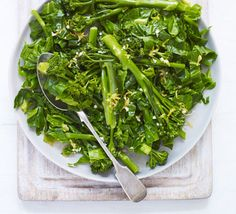 Spring greens with lemon dressing - Serve up nutritious greens with fresh garlic and lemon flavours for a healthy and versatile side dish Bbc Good Food Recipes, Vegetarian Recipes, Cooking Recipes, Clean Recipes, Veggie Recipes, Easy Recipes, Vegan Spring Rolls, Lemon Tahini Dressing, Salads