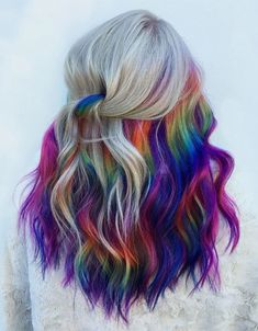 Rainbow hair colours created by me. Using manic panic. Peekaboo Hair Colors, Hair Color Purple, Hair Dye Colors, Cool Hair Color, Bright Hair Colors, Hair Color Underneath, Hidden Hair Color, Hidden Rainbow Hair, Dip Dyed Hair