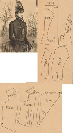 Der Bazar 1887: Springtime paletot from dark blue velour with blue silk-reps plastron and atlas lining; 37. bodice's under part, 38. plastron, 39. bodice's over part, 40. side gore, 41. back part, 42. collar in half size, 43. and 44. sleeve parts