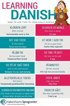 Danish phrases about time Danish Language Learning, Danish Words, Danish Christmas, Denmark Travel, Language Study, Chinese English, Idioms, Good To Know, Norway