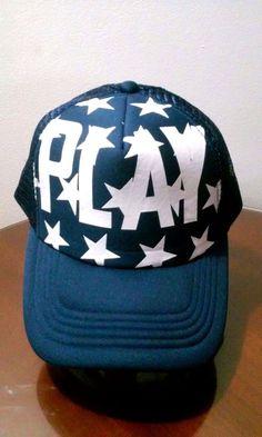be104466651 Play Stars Logo Trucker Hat Mesh Snapback Adjustable Cap New Navy Blue    White  Unbranded