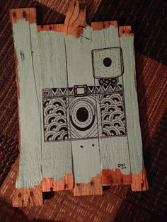 Upcycled pallet wood camera drawing on Etsy, $65.00