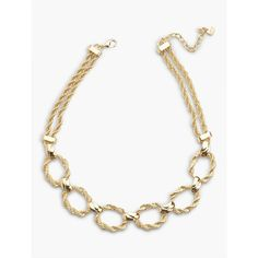 Talbots Women's Twisted Rope Double Chain Necklace ($60) ❤ liked on Polyvore featuring jewelry, necklaces, gold, twisted necklace, bib statement necklace, rope necklace, round necklace and antique jewelry