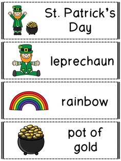 St. Patrick's Day Literacy and Math Printables - Kindergarten - St. Patrick's Day Vocabulary Cards