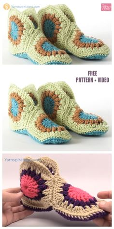 Crochet Granny Hexagon Slippers Free Patterns-Video: Granny Slippers free pattern, African flower slippers and boots. Crochet Potholder Patterns, Crochet Cardigan Pattern, Crochet Granny, Crochet Baby, Knit Crochet, Crochet Shoes, Crochet Slippers, Granny Square Slippers, Crochet Christmas Stocking Pattern