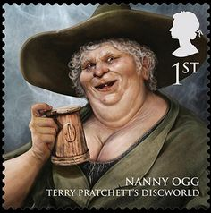 Royal Mail's new stamps from magical realms: Nanny Ogg, first-class stamp.