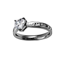 """Christian Womens Stainless Steel Abstinence 3mm Matthew 5:8 """"Purity"""" CZ Heart Solitaire Chastity Ring for Girls - Girls Purity Ring - Comfort Fit Ring Size 7 >>> For more information, visit http://www.amazon.com/gp/product/B00DRFV67Q/?tag=splendidjewelry07-20&pst=160716020358"""