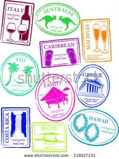 collect them all Belize Honeymoon, Australia Honeymoon, Greece Honeymoon, World Map Wall Decal, Wall Decals, Greece Art, Passport Stamps, Illustrations, Travel Scrapbook