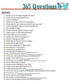 365 questions January - for 5 year journal - would be interesting to add into journaling for project life. Creative Writing, Writing Tips, Writing Prompts, Writing Journals, Writing Challenge, Start Writing, 5 Year Journal, My Journal, Journal Topics