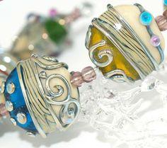 Pearly Karpel Lampwork Beads (1) SRA Made To Order Handmade