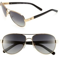 Tory Burch polarized 57mm aviators Beautiful gold rimmed Tory aviators. $200 at Nordstrom. No scratches, good condition!! will come with original brown Tory sunglasses pouch with draw string. Tory Burch Accessories Sunglasses