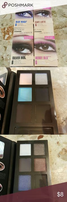 Lot of 4 Runway Glamour Eyeshadow Pallets Lot of 4 Runway Glamour Eyeshadow Pallets. Palettes include, Silver Moon, Blue Magic, Cafe Latte, and Berry Bloom.  All pallets are NIB & factory sealed.  Feel free to ask any questions before purchasing.   Thanks for shopping my closet! Runway Glamour  Makeup Eyeshadow