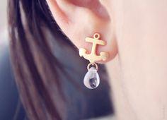 tiny gold anchor studs  nautical jewelry  tiny glass by PetiteCo, $13.50