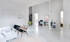 Hippy interior in a modern, urban version, bright colored accessories, combined with a modern furniture on clean and white surfaces. Arch Interior, Interior Design, Leather Chair With Ottoman, Mesh Office Chair, Cool Chairs, Bag Chairs, Eames Chairs, Luxury Apartments, Decoration