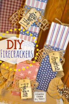 DIY Firecrackers using cricut cartridge boxes. Great home decor holiday craft! #cricut #recycle #repurpose