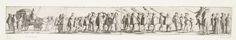 Anonymous | Rijtoer van Willem III door Amsterdam, 1659, Anonymous, Clement de Jonghe, 1659 | Rijtoer van prins Willem III door Amsterdam, 1659. Vier kleine plaatjes (waarvan alleen de eerste twee genummerd 1-2) aan elkaar geplakt tot een een smal fries. De prins zittend in een rijtuig, de wagen voorafgegaan door pages, hellebaardiers en ruiters. Links en rechts toeschouwers.