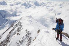 Dave Hahn taking in the view on Denali. Eddie Bauer First Ascent.