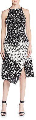 Crawford Silk Blocked Floral A-Line Dress