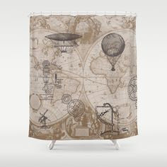 Items similar to Steampunk Style Shower Curtain - hot air balloons, map, antique brown, gears, beige on Etsy Home Decor Accessories, Decorative Accessories, Steampunk Bathroom, Mystery, Vintage Airplanes, Antique Maps, Travel Themes, Packing Tips For Travel, Industrial Chic