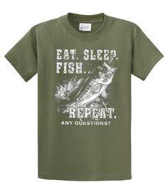 Fishing T-Shirt Eat Sleep Fish Repeat-military-large