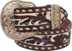 Floral Tooled Buckstitched Belt by Double J Saddlery