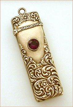 Antique Needle Case - Gilded Sterling, Amethys. Raised Victorian Design