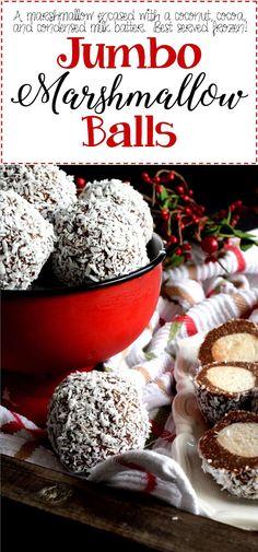 No bake Christmas cookies Jumbo Marshmallow Balls - Lord Byron's Kitchen Christmas Tea, Christmas Cooking, Christmas Desserts, Holiday Treats, Holiday Recipes, Holiday Bars, Christmas Goodies, Christmas Candy, Christmas Stuff