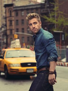 Nate Green Style - Rolled sleeve tailor fitted denim shirt paired with dark wash…