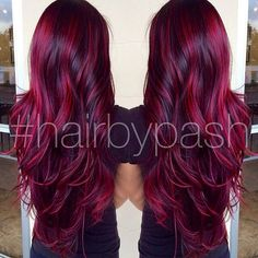 cherry bombre hair color for brunettes. Hair Color And Cut, Ombre Hair Color, Magenta Hair, Plum Hair, Burgandy Ombre Hair, Black Cherry Hair Color, Red Hair For Black Hair, Cherry Red, Red Purple Hair Color